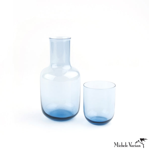 Glass Bedside Carafe Set Blue
