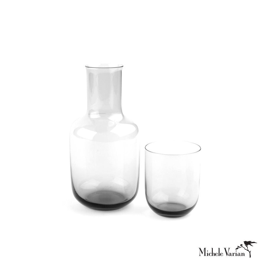 Glass Bedside Carafe Set Grey