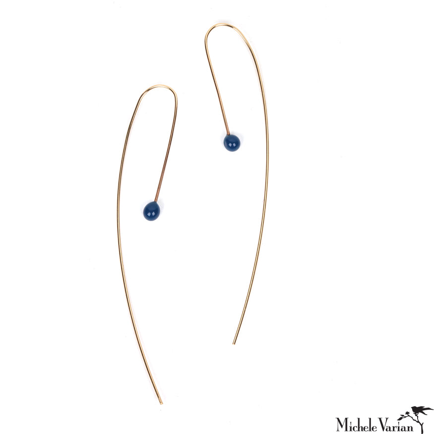 Glass and Gold Fill Earring Blue