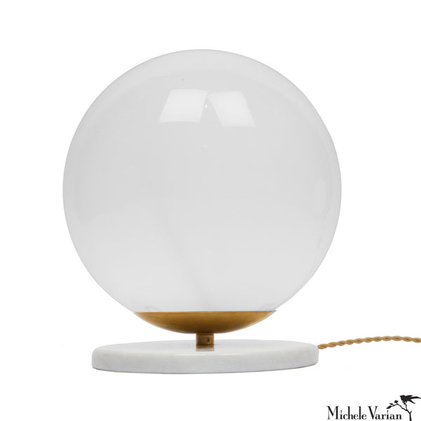 Glass and Marble Globe Table Light Large