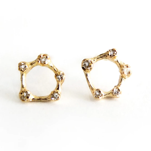 Gold and Diamond Circle Earrings