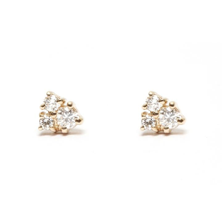 Diamond Cluster Gold Stud Earrings