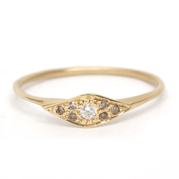 Pave Champagne Diamond Eye Ring