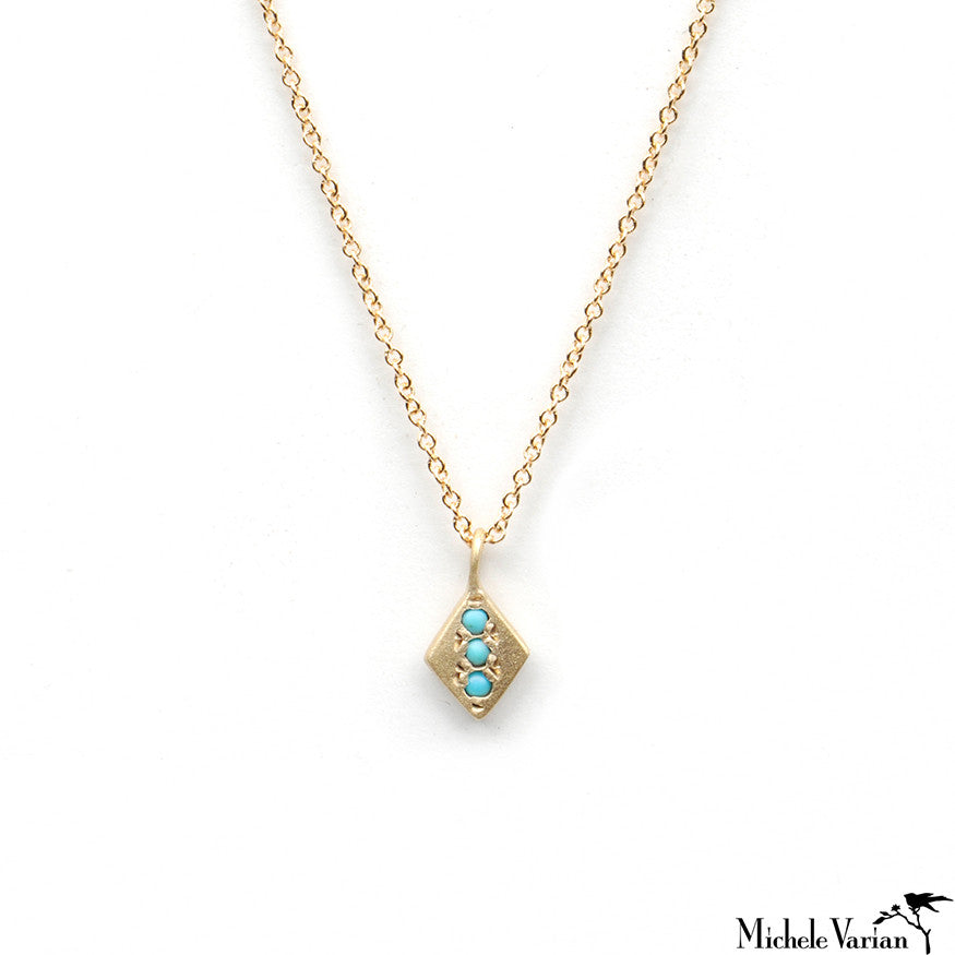 Gold Necklace with Turquoise Dots