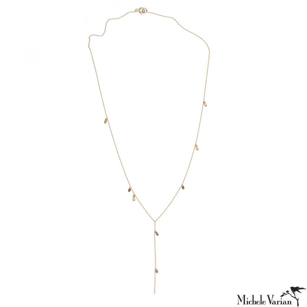 Gold Flutter Lariat Necklace
