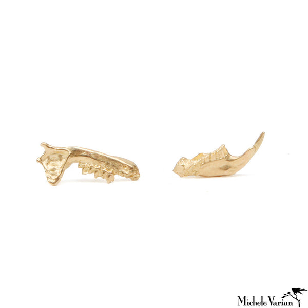 Gold Bat Jaw Earrings