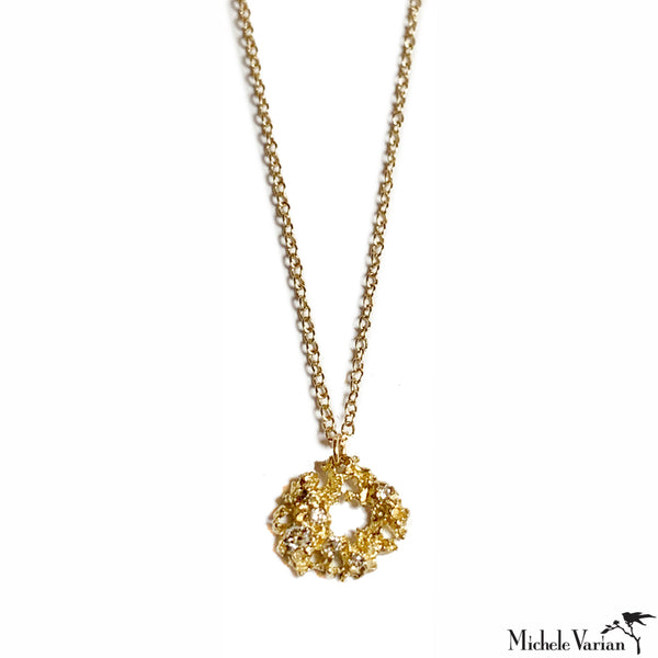 Gold Lace Pendant Necklace With Diamond Accents