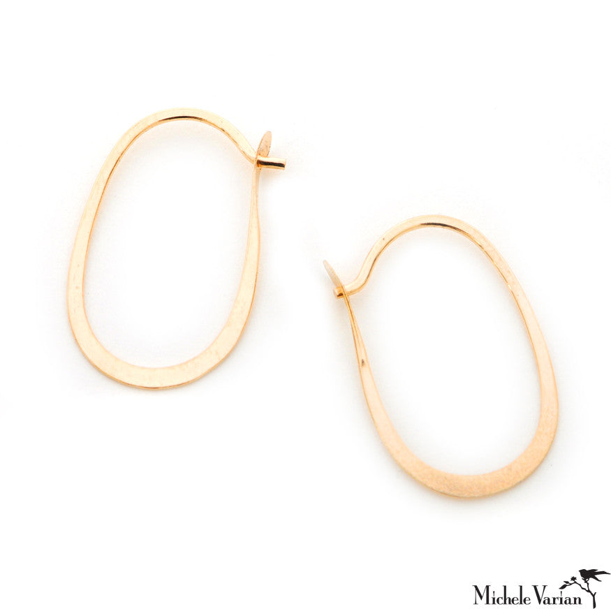 Gold Oval Hoop Earring