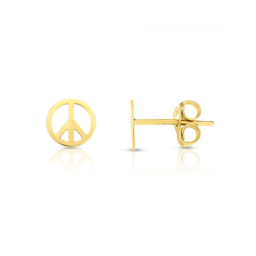 Gold Peace Sign Stud Earrings
