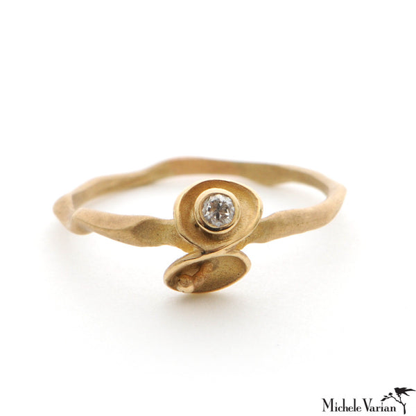Gold Diamond Pod Ring
