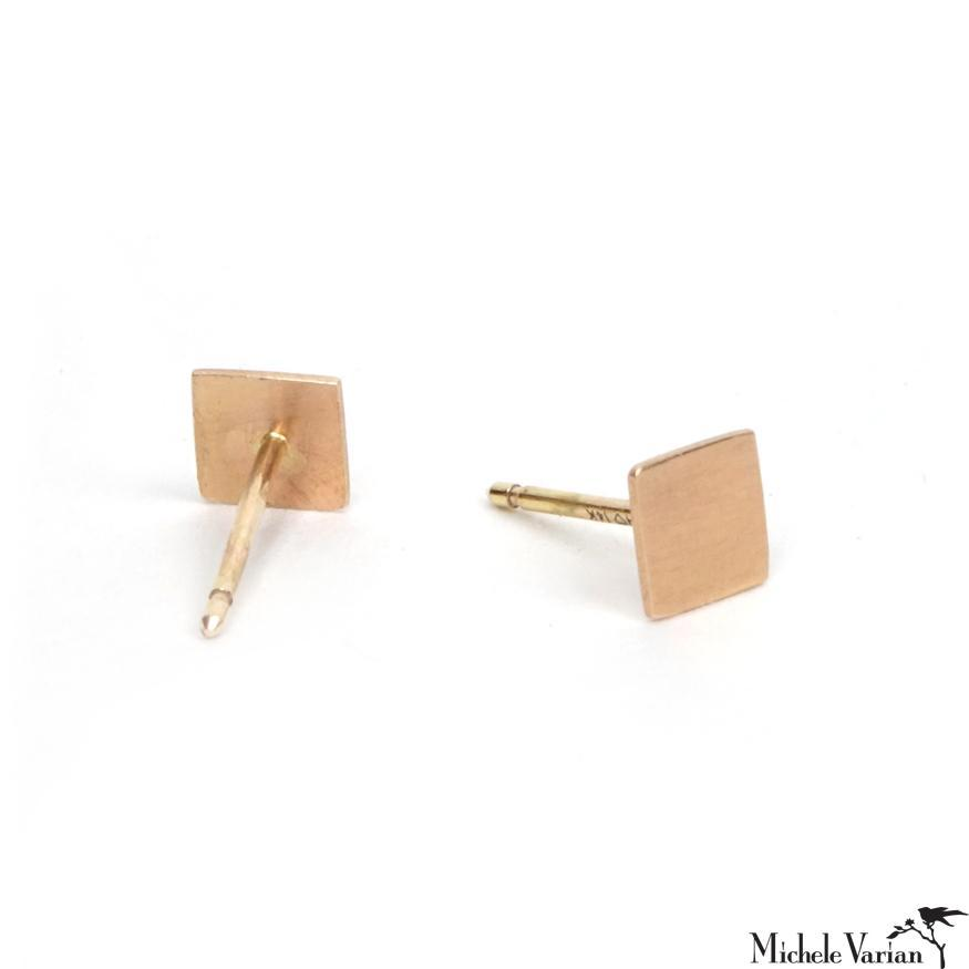 Gold Square Post Earring