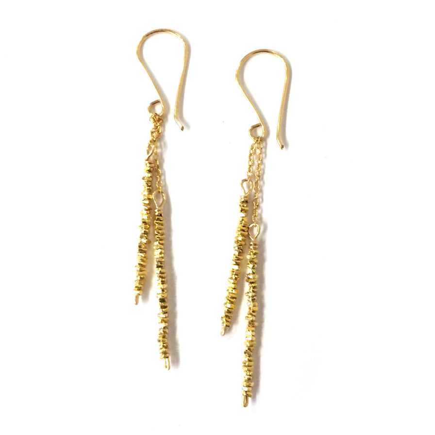 Gold Beaded Stick Earrings