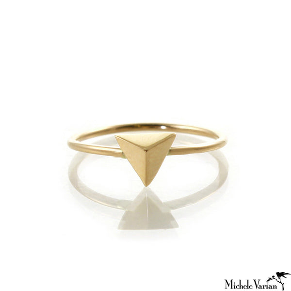 Gold Triangle Pyramid Ring