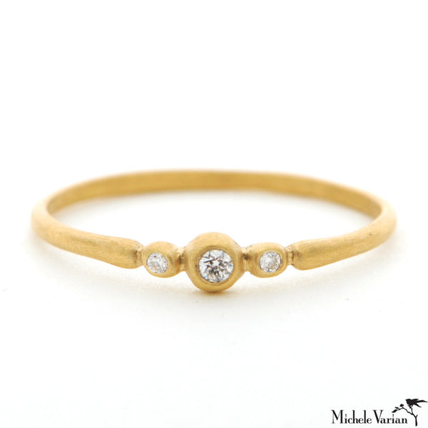 Gold Three Diamond Ring
