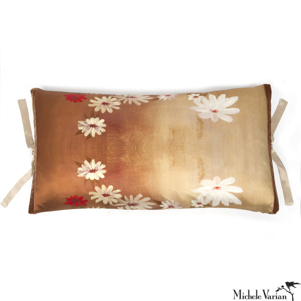 Silk Print Pillow Golden Daisy 12x22