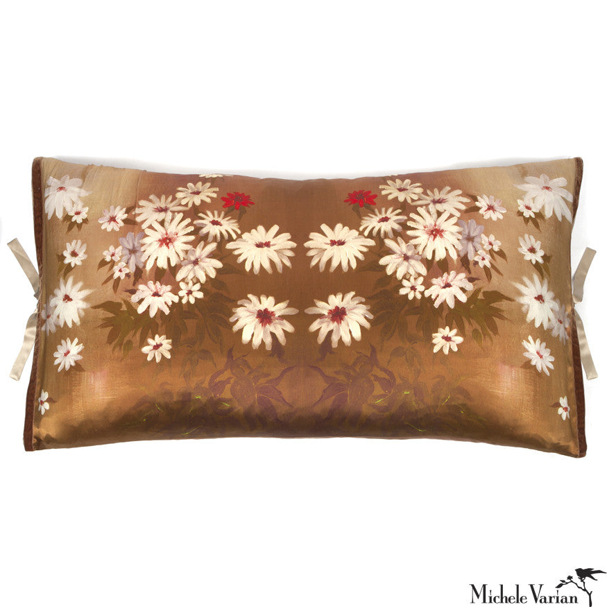 Silk Print Pillow Golden Daisy 20x36