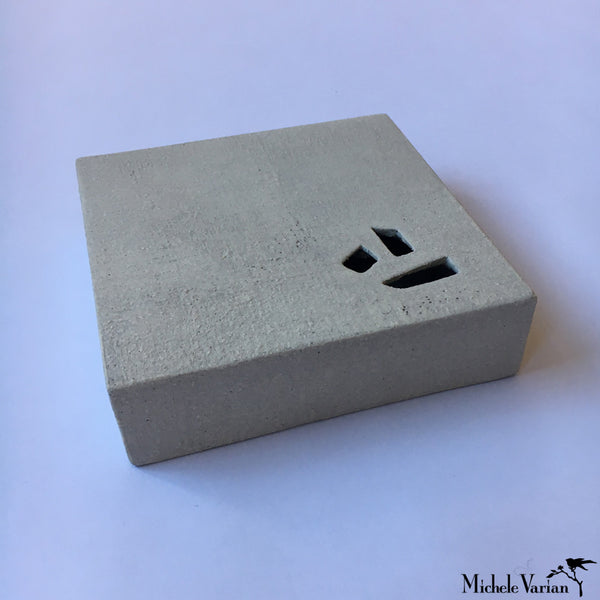 Japanese Gray Flat Block Bits Ceramic Vase
