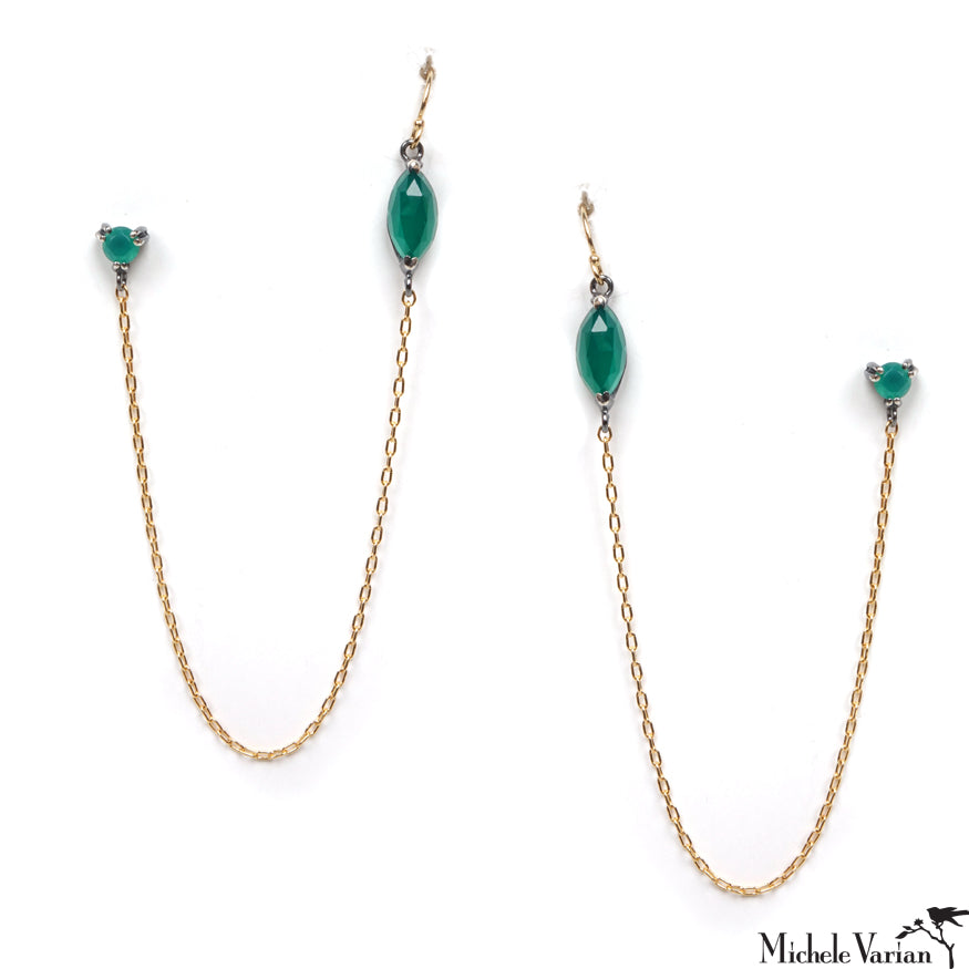 Green Onyx Marquise Double Pierced with Chain