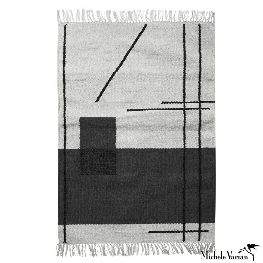 Grey Abstract Line Mat