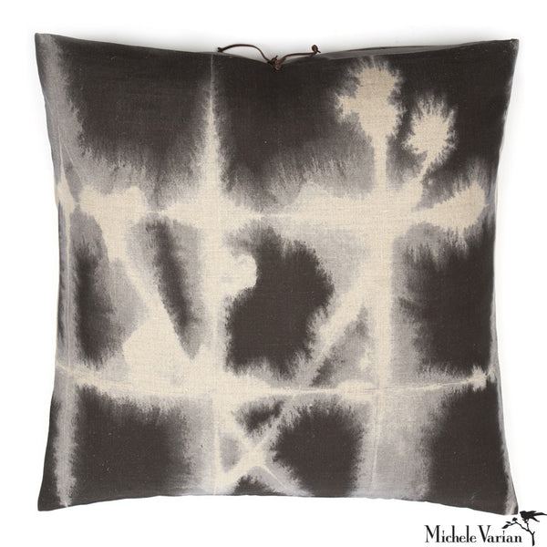 Printed Linen Pillow Grid Grey 24x24
