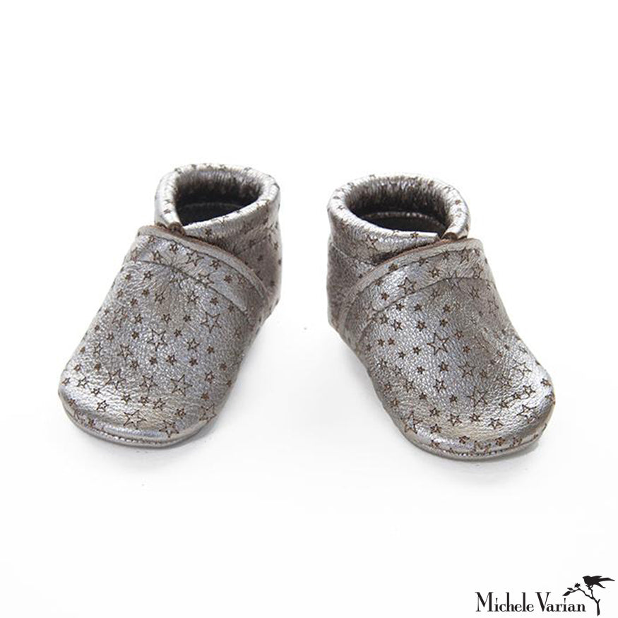 Metallic Gunmetal Star Leather Baby Booties