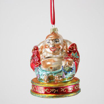 Happy Budda Glass Ornament