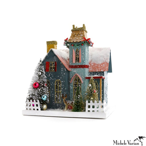 Glittery Winter Victorian Manor House