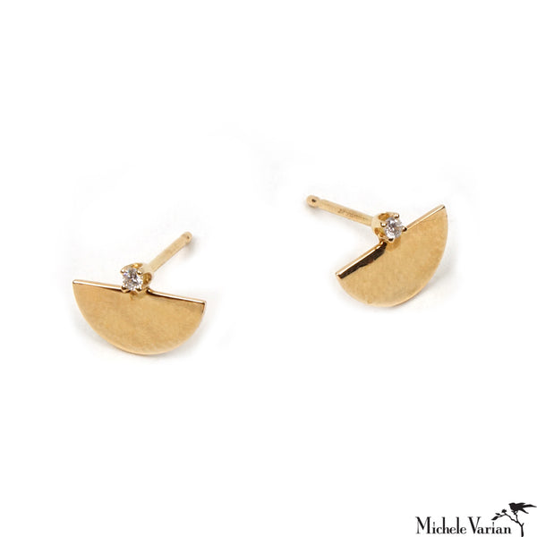 Dainty Half Moon and Diamond Gold Stud Earrings