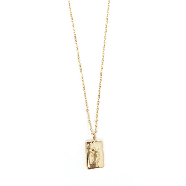 Hammered Rectangle Charm Necklace