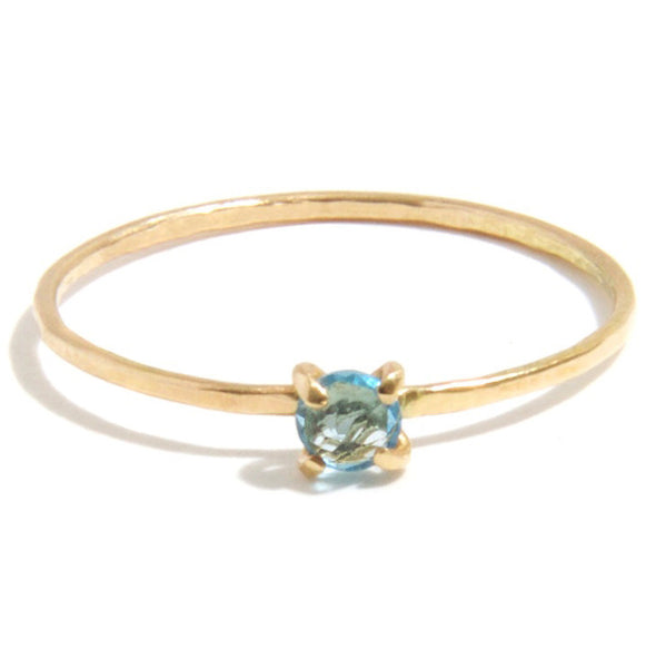 Tiny Hammered Ring Blue Topaz