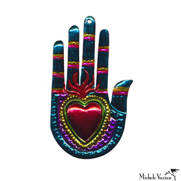 Hamsa Hand and Heart Ornament