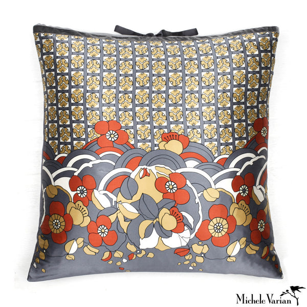 Silk Print Pillow Hannah Steel 22x22