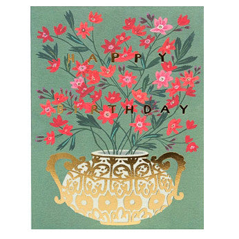 Happy Birthday Gold Foil Vase Card