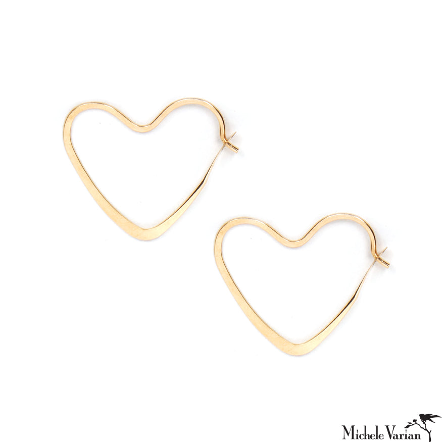 Gold Hammered Hearts Hoops