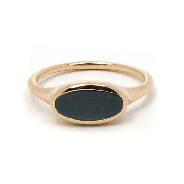 Bloodstone Heliotrope Gold Ring