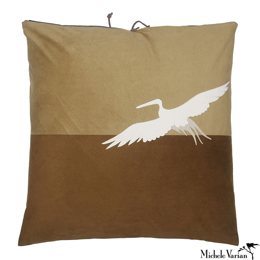 Ultra Suede Applique Pillow Heron Saddle 18x18