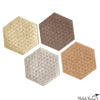 Metallic Leather Hex Coasters Multi