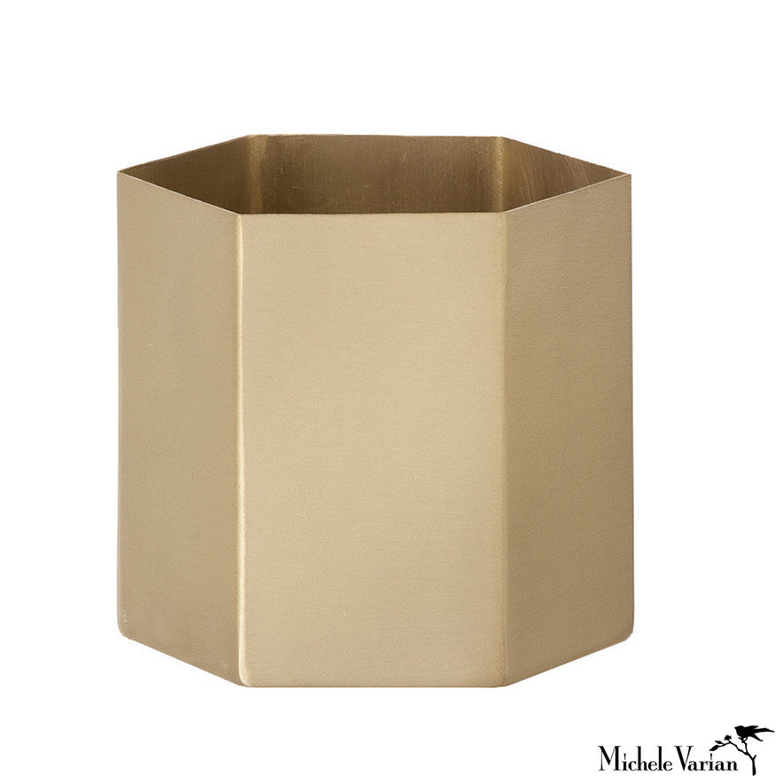Brass Hexagon Container Medium