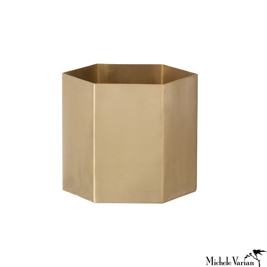 Brass Hexagon Container Short
