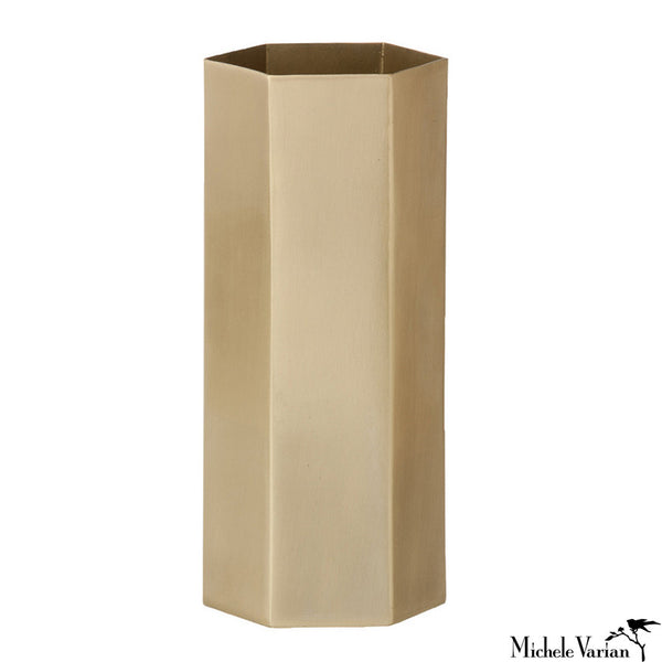 Brass Hexagon Container Tall