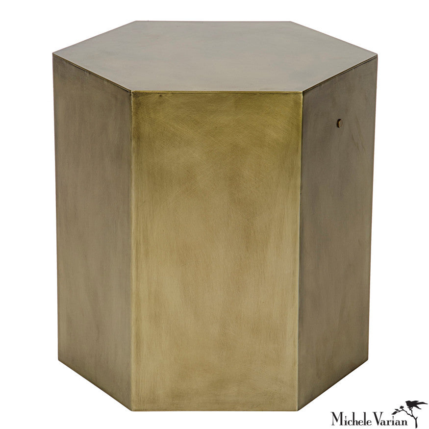 Brass Finish Hexagon Side Table A