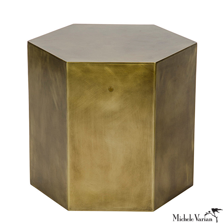 Brass Finish Hexagon Side Table B