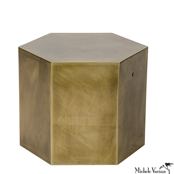 Brass Hexagon Side Table C