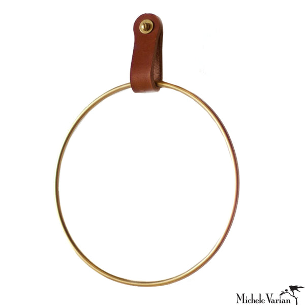 Brass Circle Towel Ring with Leather Strap