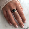 Hexagon Onyx and Diamonds Gold Ring