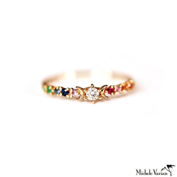 Rainbow Stardust Gold Ring