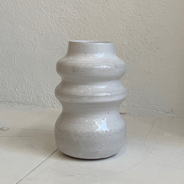 White Ribbed Shape Vase