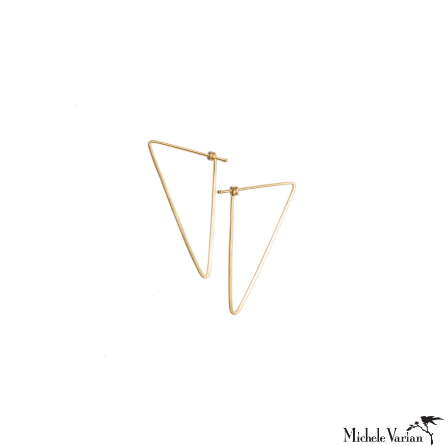 Simple Triangle Gold Hoops