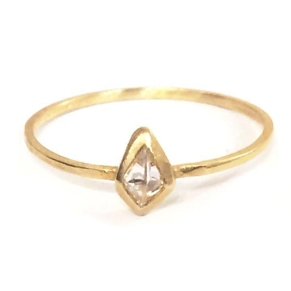 Tiny Kite Shaped Diamond Ring