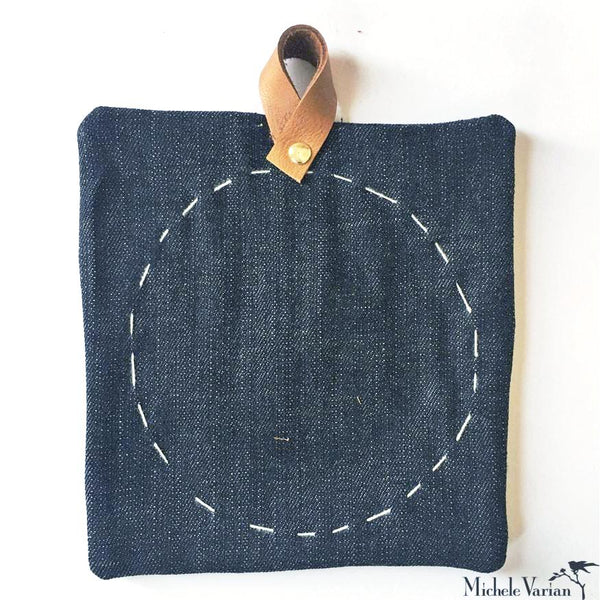 Stitch Denim Potholder with Leather Loop